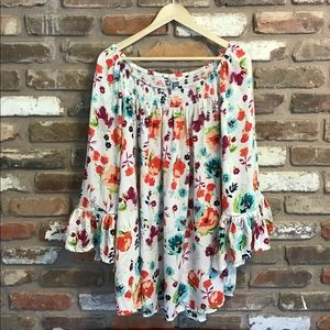 TERRA & SKY Floral Off Shoulder Top